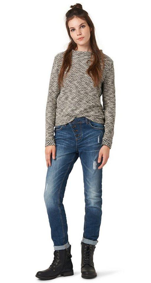TOM TAILOR DENIM Jeans »Anti-Fit-Denim mit Destroys« in destroyed mid stone