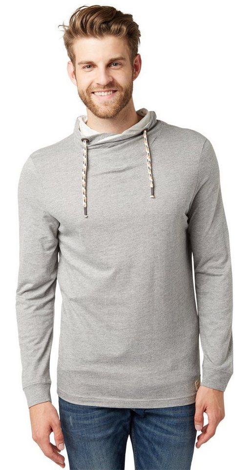 TOM TAILOR T-Shirt »Langarm-Shirt mit Kragen« in rock mass grey melan