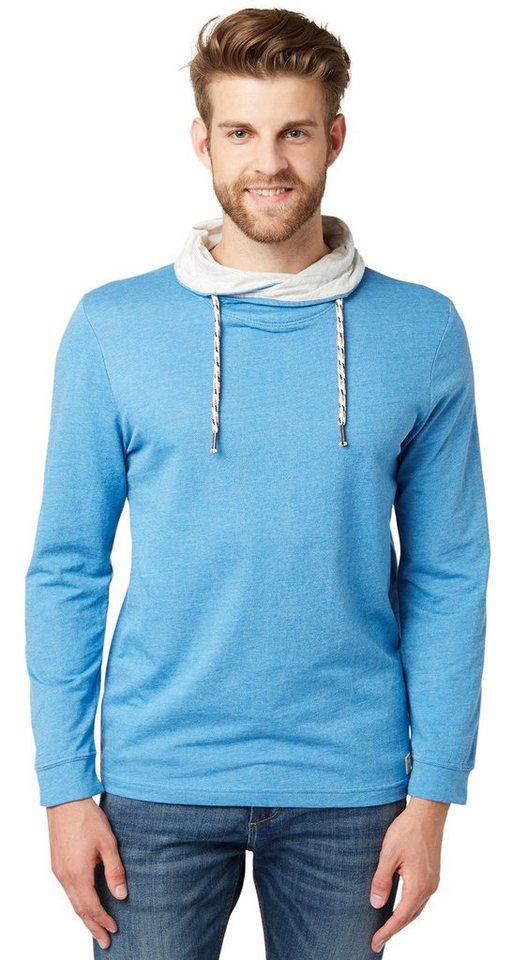TOM TAILOR T-Shirt »Langarm-Shirt mit Kragen« in dark celeste blue