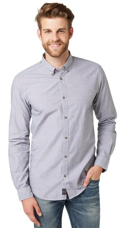 TOM TAILOR Hemd »gestreiftes Button-Down-Hemd« in smoked pearl grey