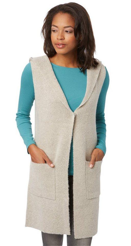 TOM TAILOR Strickjacke »hooded outdoor vest« in light dove grey