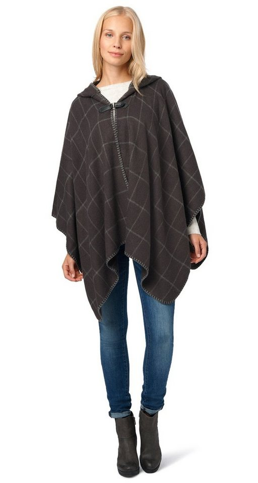 TOM TAILOR Schal »check poncho« in Coal Grey