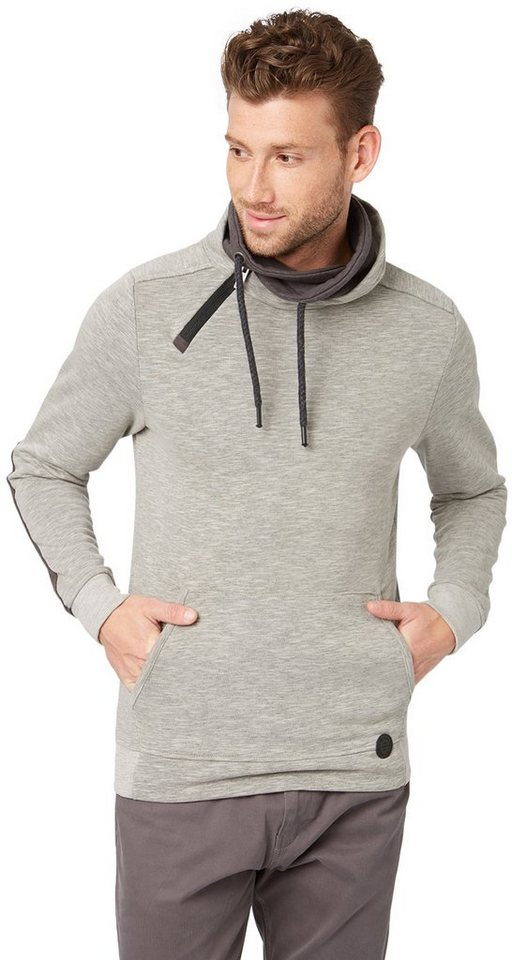 TOM TAILOR Sweatshirt »Rollkragen-Sweater im Lagen-Look« in silver grey