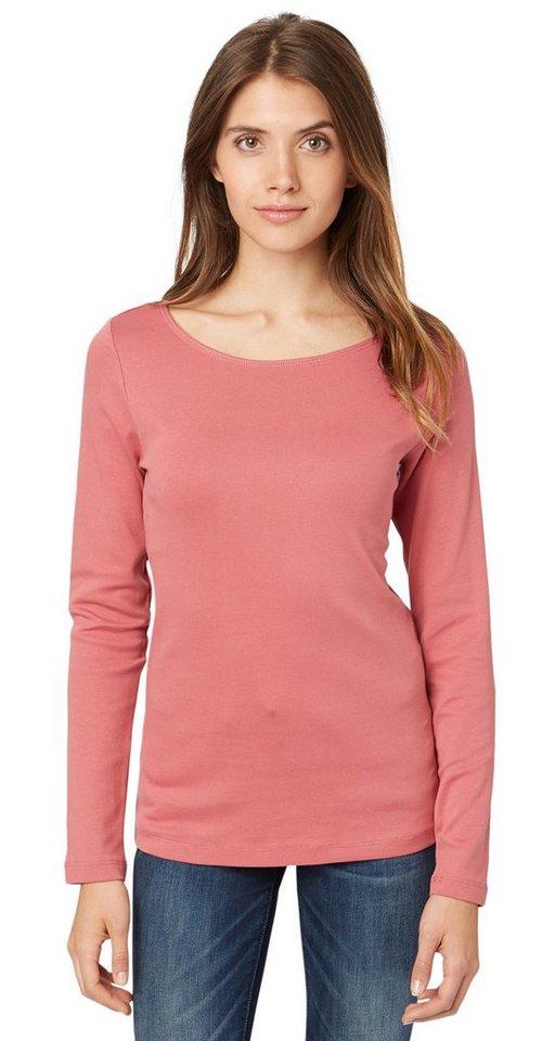 TOM TAILOR T-Shirt »basic rib shirt« in berry mauve