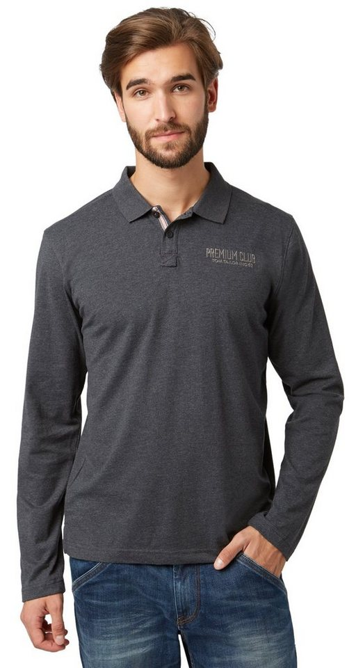 TOM TAILOR Poloshirt »Polo-Shirt mit Melange-Effekt« in almost black