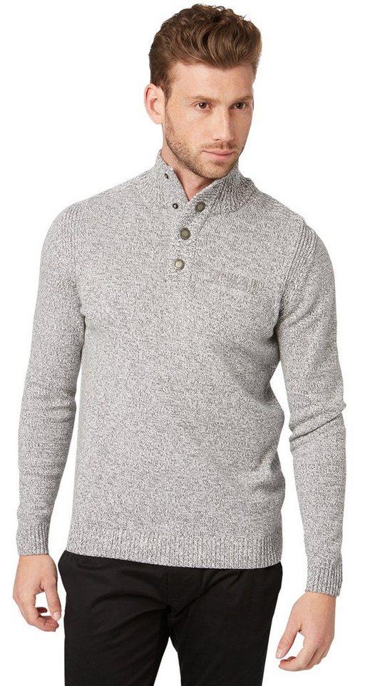 TOM TAILOR Pullover »Pullover mit Stickerei« in knit white