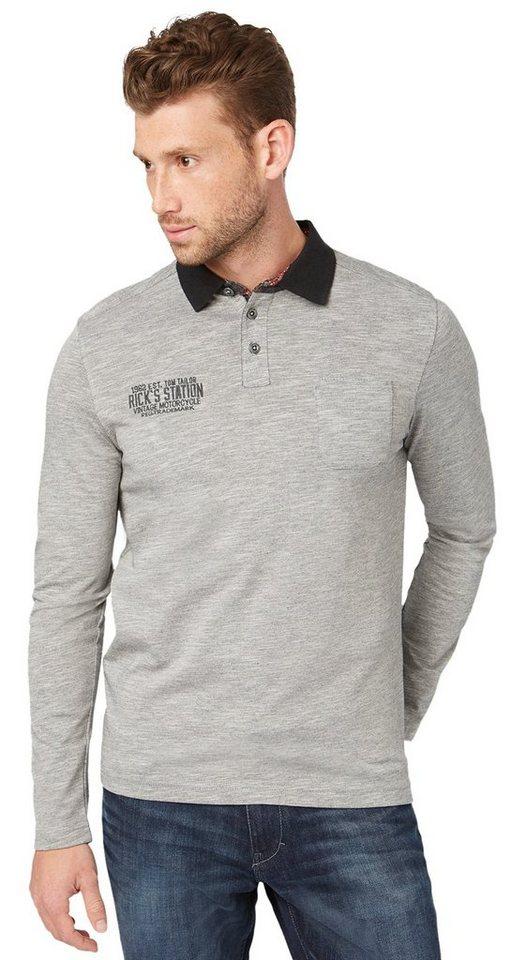 TOM TAILOR Poloshirt »Polo-Shirt mit Stickerei« in silver grey