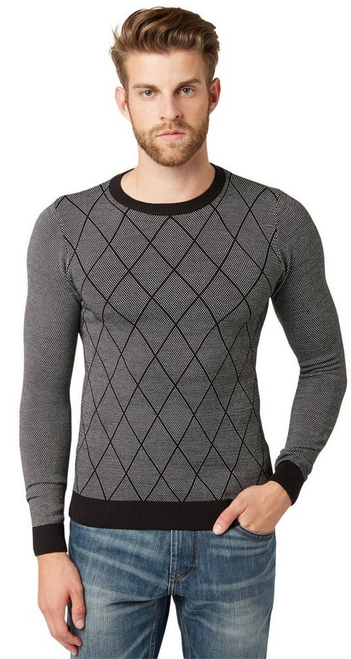 TOM TAILOR Pullover »Jacquard Pullover mit Rautenmuster« in almost black