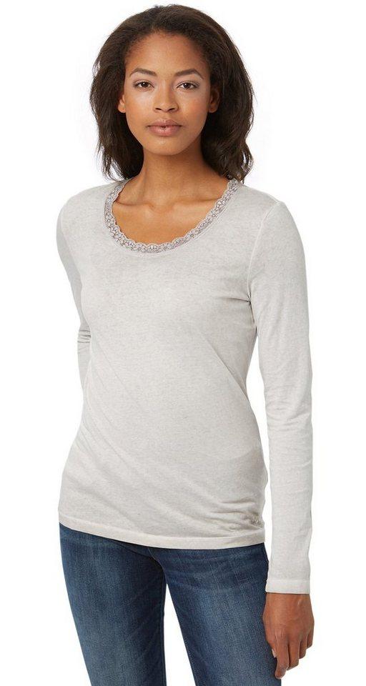 TOM TAILOR T-Shirt »Langarm-Shirt mit Spitzenkragen« in light dove grey