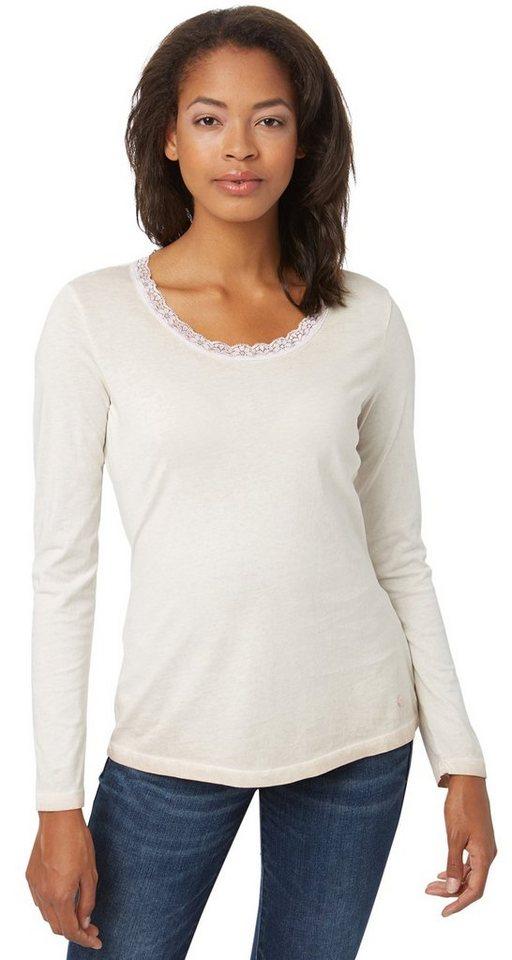 TOM TAILOR T-Shirt »Langarm-Shirt mit Spitzenkragen« in Taste of berry