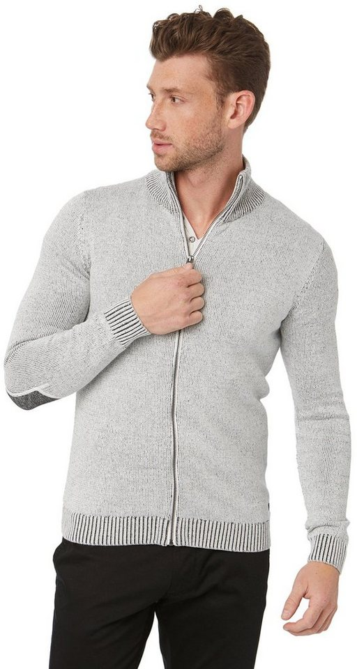 TOM TAILOR Strickjacke »Strickjacke mit Ärmelpatches« in knit white