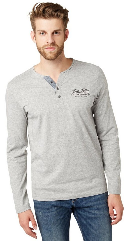 TOM TAILOR T-Shirt »Henley-Shirt mit Logo-Print« in middle grey melange