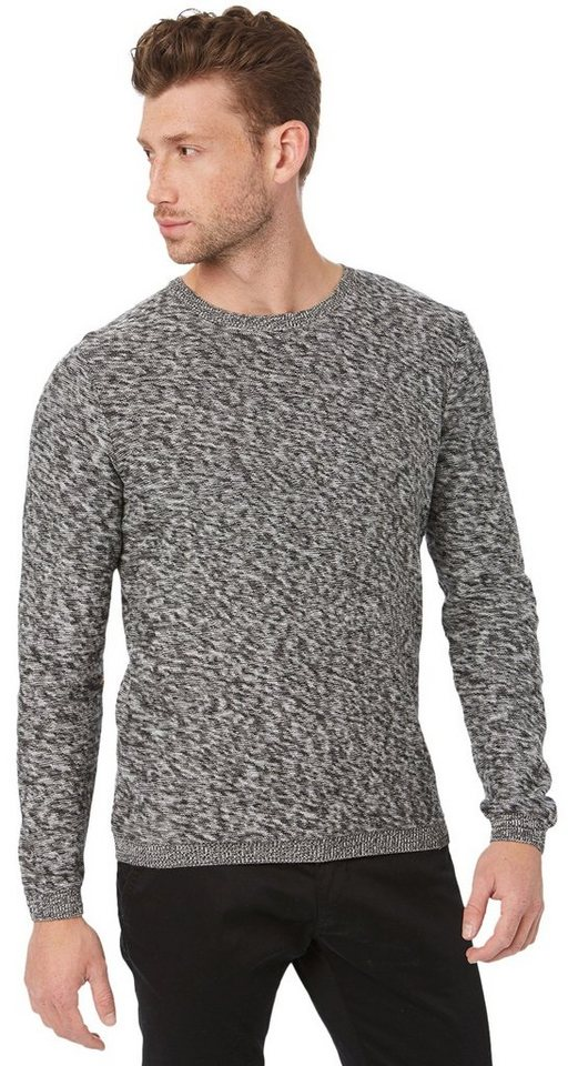 TOM TAILOR Pullover »Mouliné Pullover« in almost black