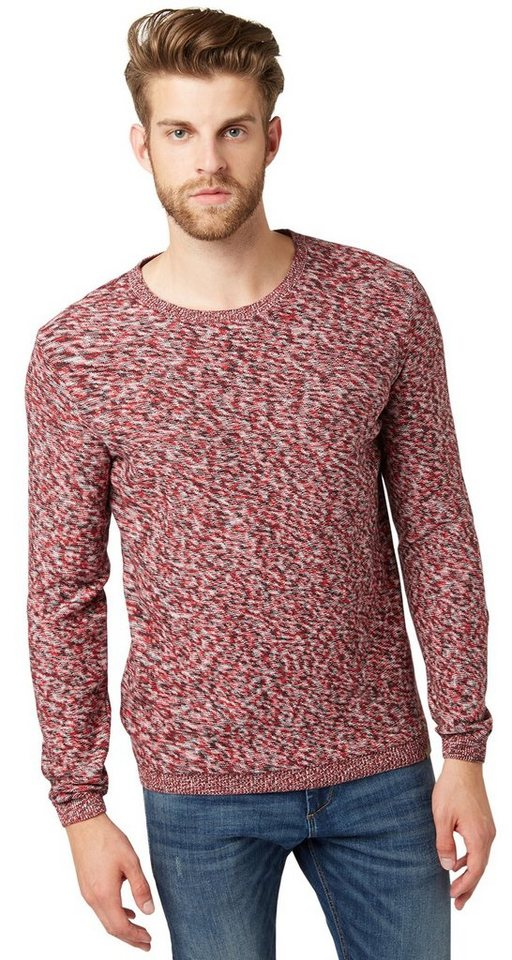 TOM TAILOR Pullover »smart mouline sweater« in Scooter red
