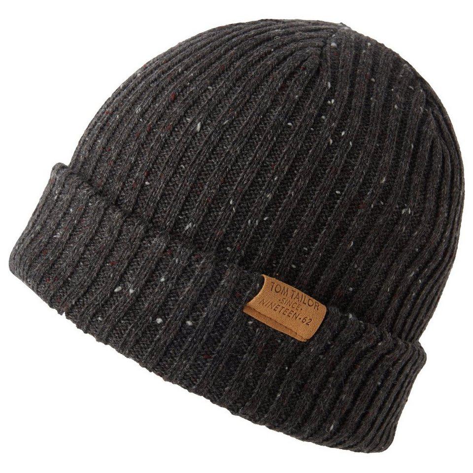 TOM TAILOR Mütze »Mütze mit Ripp-Struktur« in black grey melange