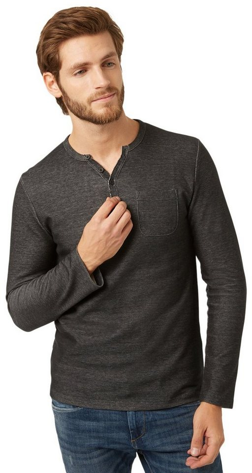 TOM TAILOR T-Shirt »henley with pocket« in almost black