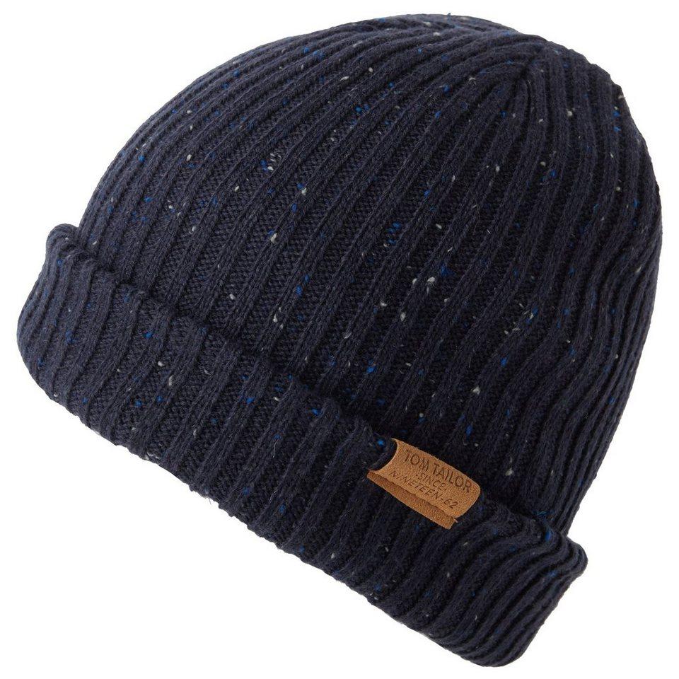 TOM TAILOR Mütze »Mütze mit Ripp-Struktur« in knitted navy