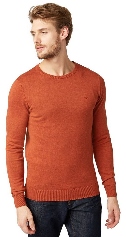 TOM TAILOR Pullover »Basic Pullover mit Ripp-Blenden« in antique orange melan