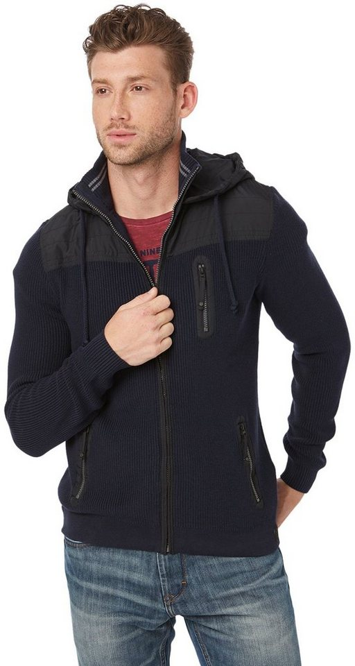 TOM TAILOR Strickjacke »hood jacket with nylon details« in knitted navy