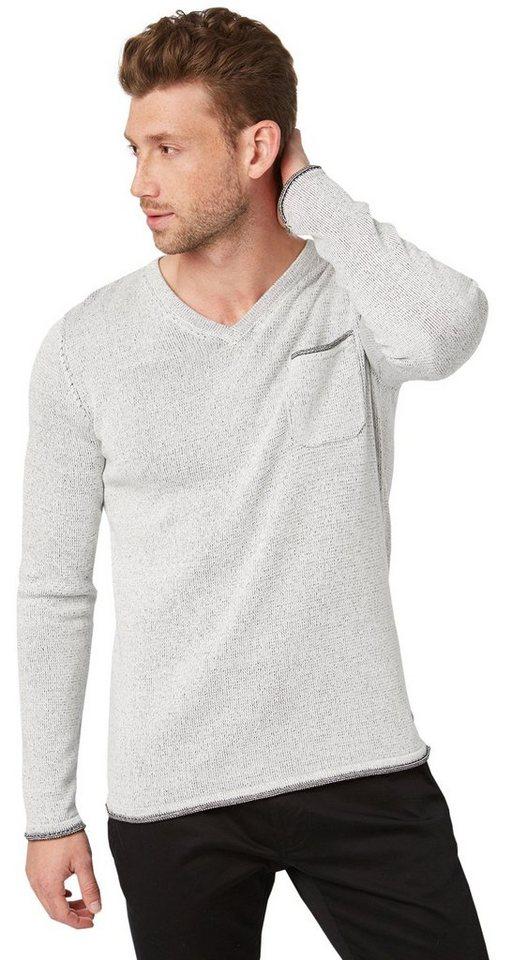 TOM TAILOR Pullover »Strickpullover mit V-Ausschnitt« in knit white