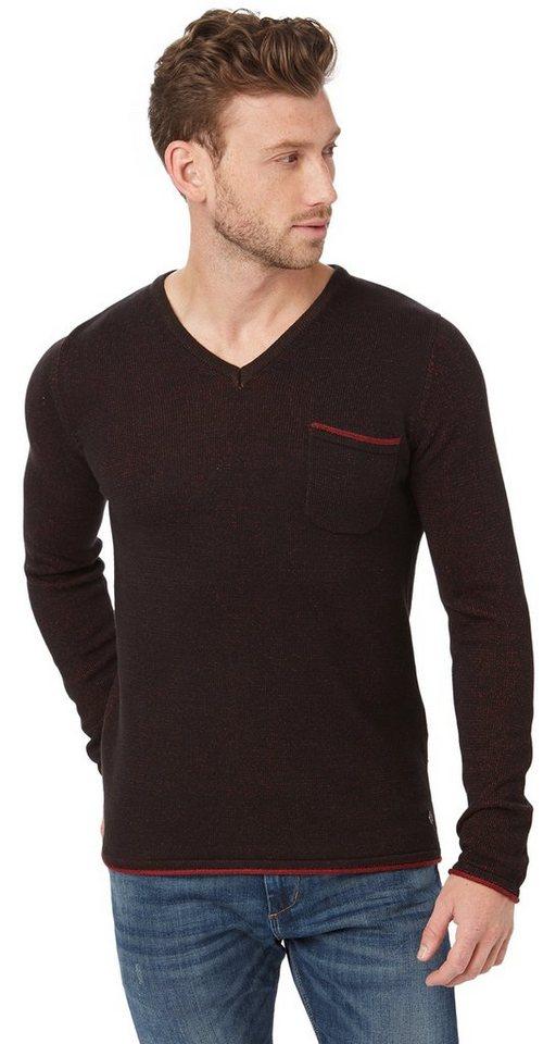 TOM TAILOR Pullover »Strickpullover mit V-Ausschnitt« in almost black
