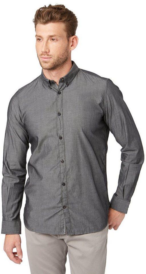 TOM TAILOR Hemd »elegantes Button-Down-Hemd« in almost black