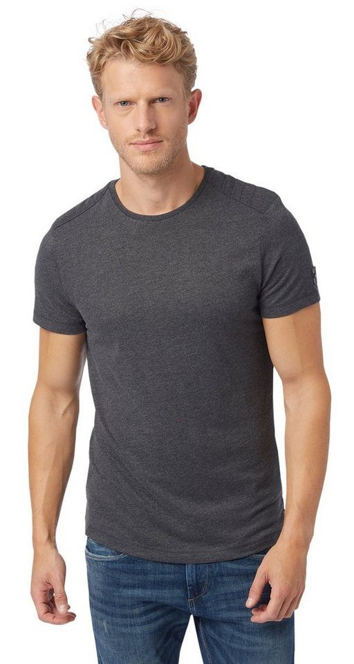 TOM TAILOR T-Shirt »Melange-Shirt mit Steppung« in almost black
