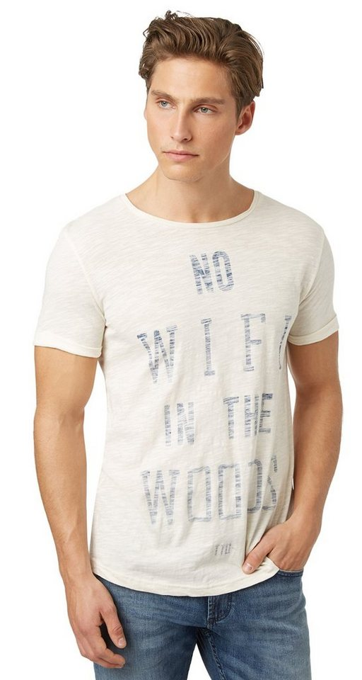 TOM TAILOR DENIM T-Shirt »T-Shirt mit Inside-Out-Print« in soft beige solid