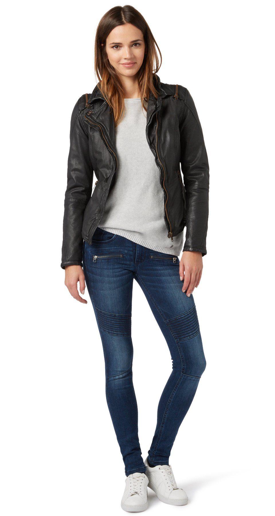TOM TAILOR Jeans »Used-Jeans mit Biker-Details«