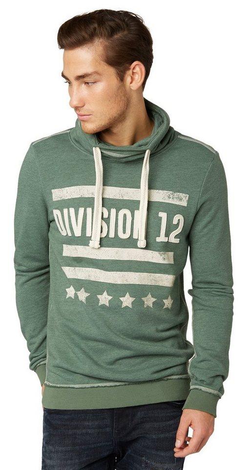TOM TAILOR DENIM Sweatshirt »Rollkragen-Sweater mit Applikation« in light spruce green