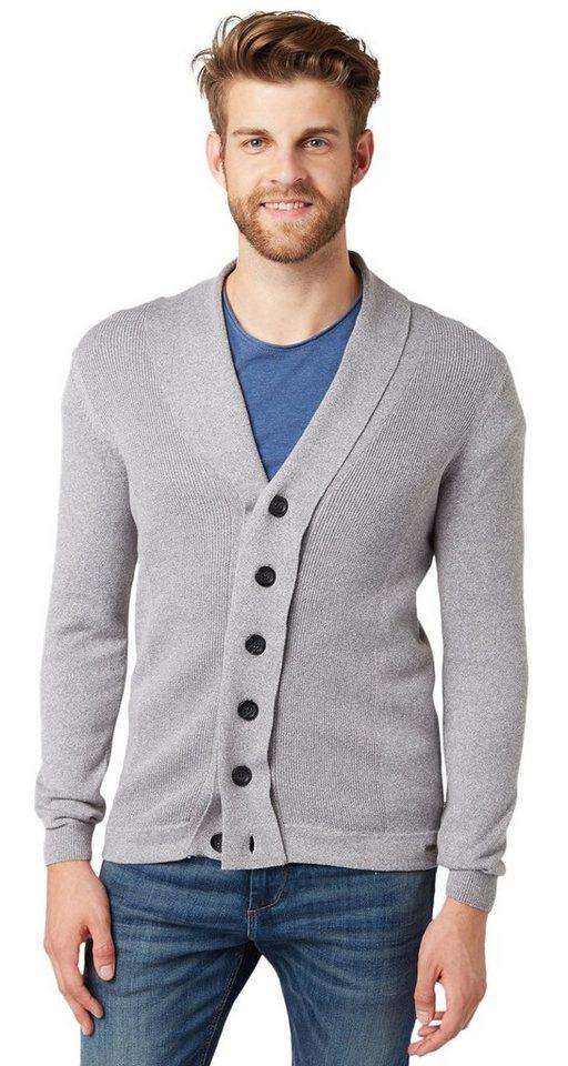 TOM TAILOR Strickjacke »shawl-collar cardigan« in smoked pearl grey