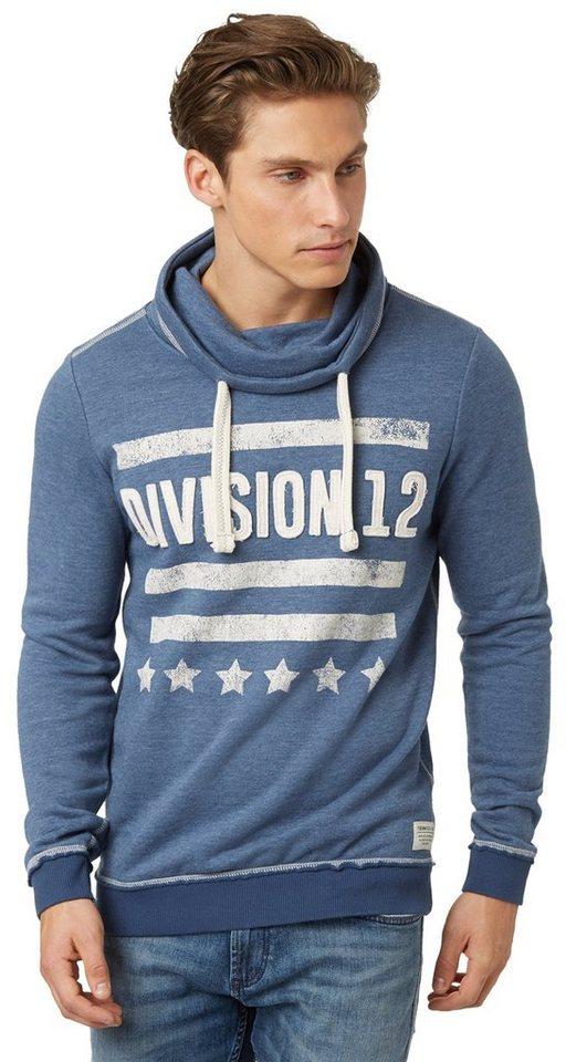 TOM TAILOR DENIM Sweatshirt »Rollkragen-Sweater mit Applikation« in dark duck blue