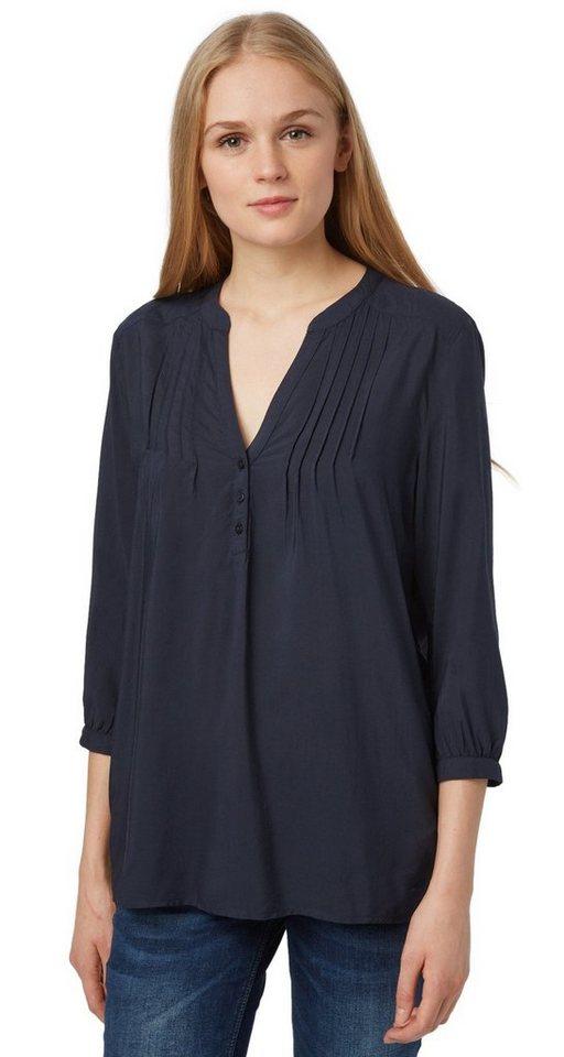 TOM TAILOR DENIM Bluse »feminine tunic with pin-tucks« in sky captain blue