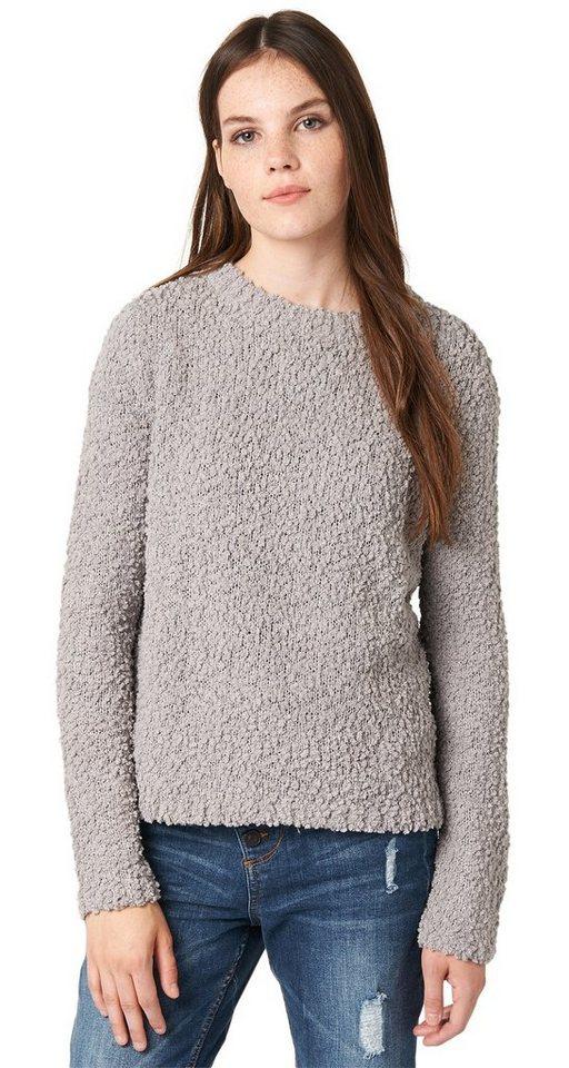 TOM TAILOR DENIM Pullover »cosy popcorn yarn pullover« in cement grey melange