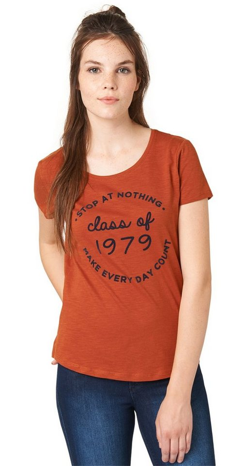 TOM TAILOR DENIM T-Shirt »T-Shirt mit Print« in burn umber orange