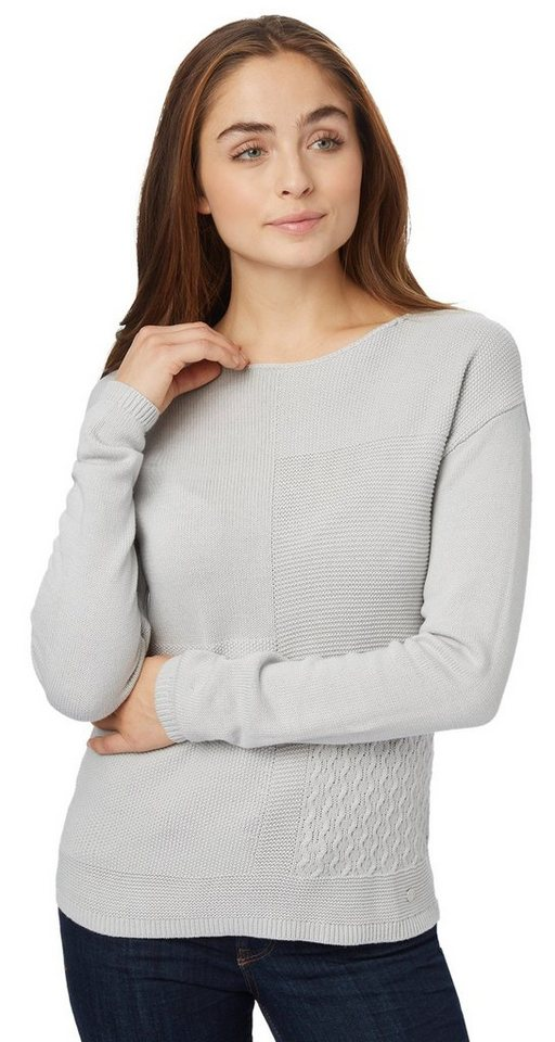 TOM TAILOR Pullover »stitch mix sweater« in light silver melange