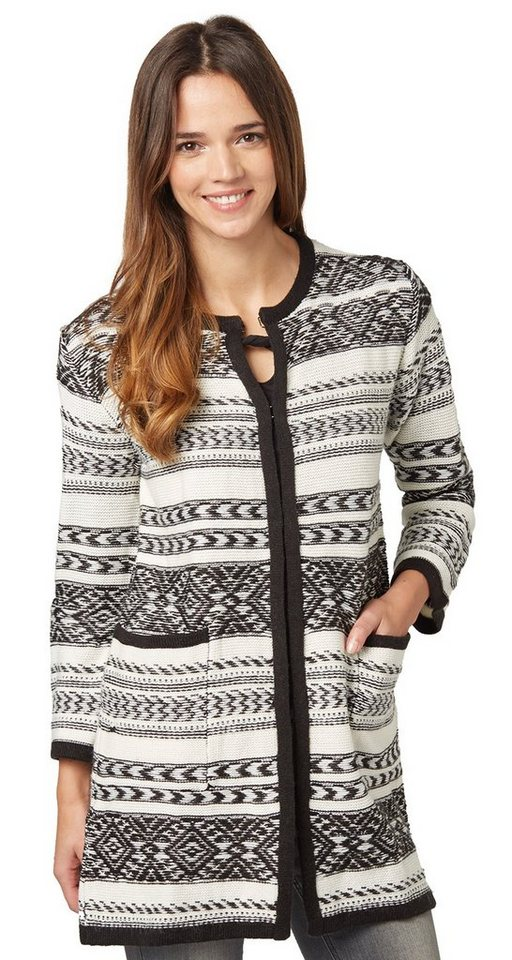 TOM TAILOR Strickjacke »Ikat-Cardigan mit Woll-Anteil« in black