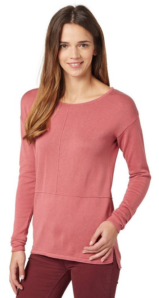 TOM TAILOR Pullover »Sweater mit dekorativer Naht« in berry mauve