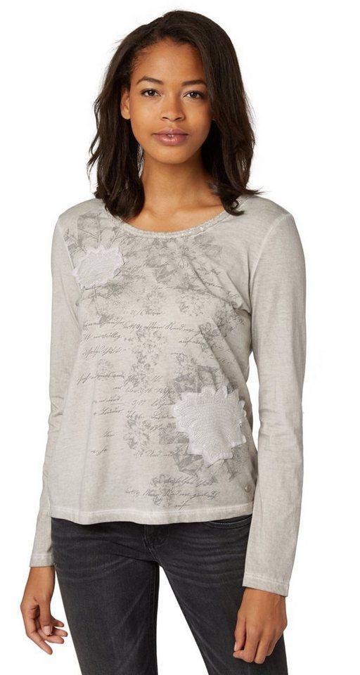 TOM TAILOR T-Shirt »Langarm-Shirt mit Pailletten-Detail« in light dove grey