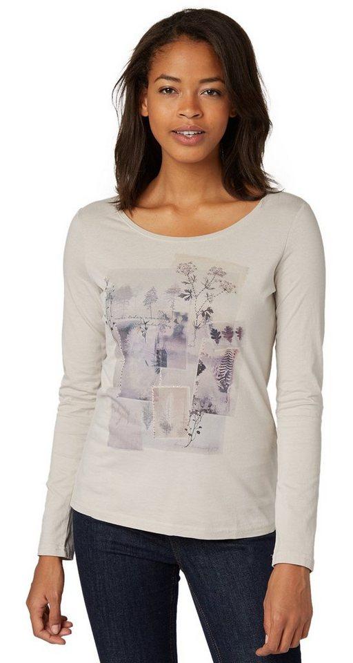 TOM TAILOR T-Shirt »Print-Shirt mit Strasssteinchen« in light dove grey