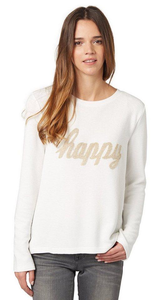 TOM TAILOR Sweatshirt »Sweater mit Schrift-Applikation« in whisper white