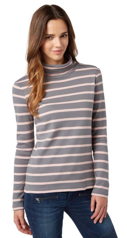 TOM TAILOR T-Shirt »gestreifter Rollkragen-Pullover« in smoked pearl grey