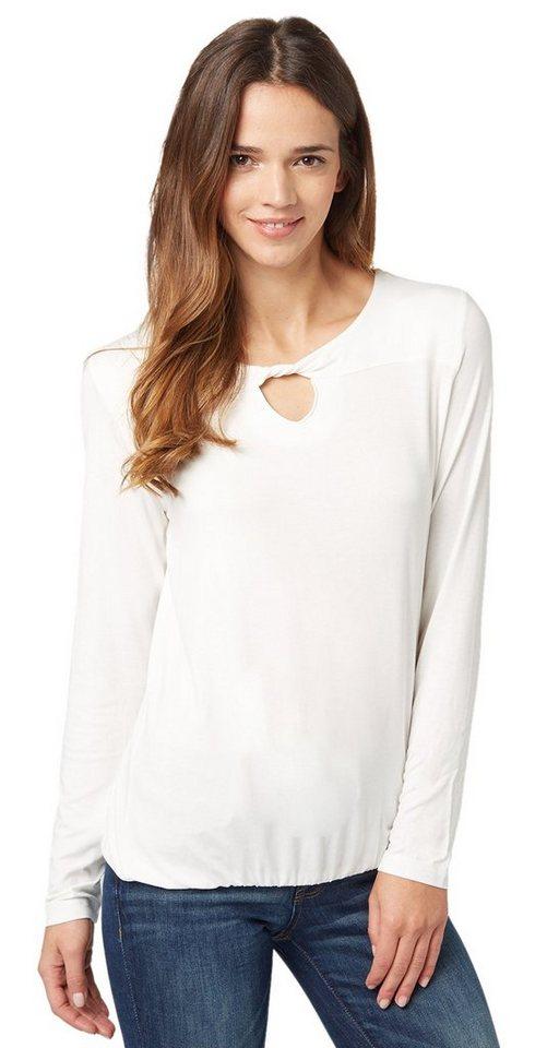 TOM TAILOR T-Shirt »feminines Shirt mit Cut-Out« in whisper white