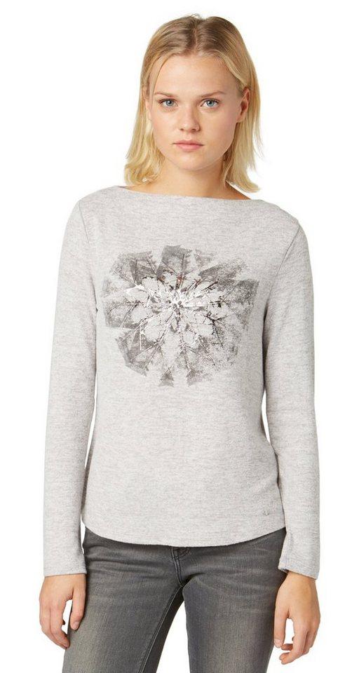 TOM TAILOR T-Shirt »Langarm-Shirt mit Metallic-Print« in light silver melange