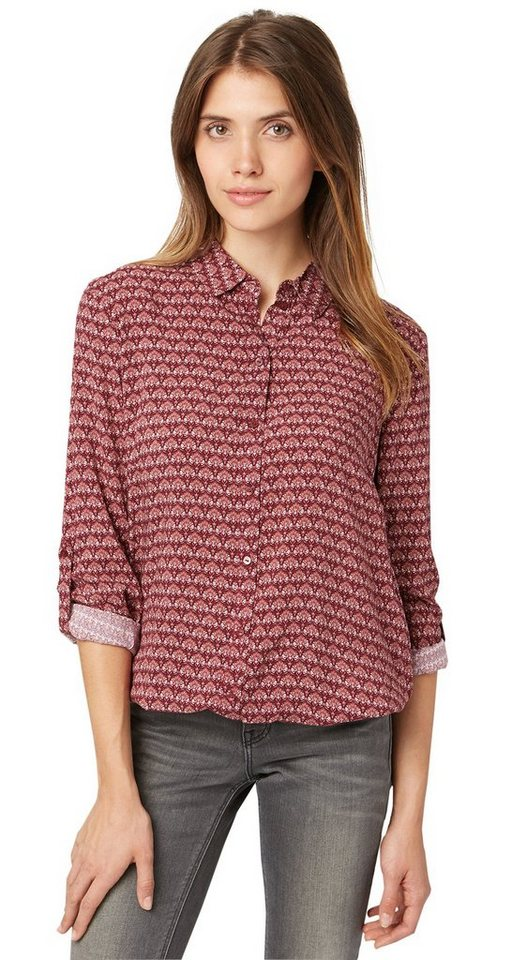 TOM TAILOR Bluse »Bluse mit Ornament-Muster« in tawny port red