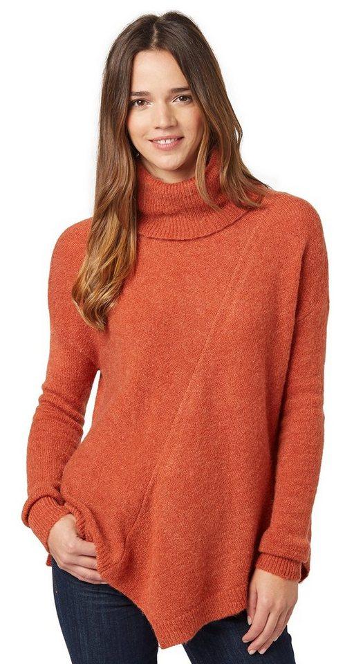 TOM TAILOR Pullover »asymmetrischer Rollkragenpullover« in fox orange