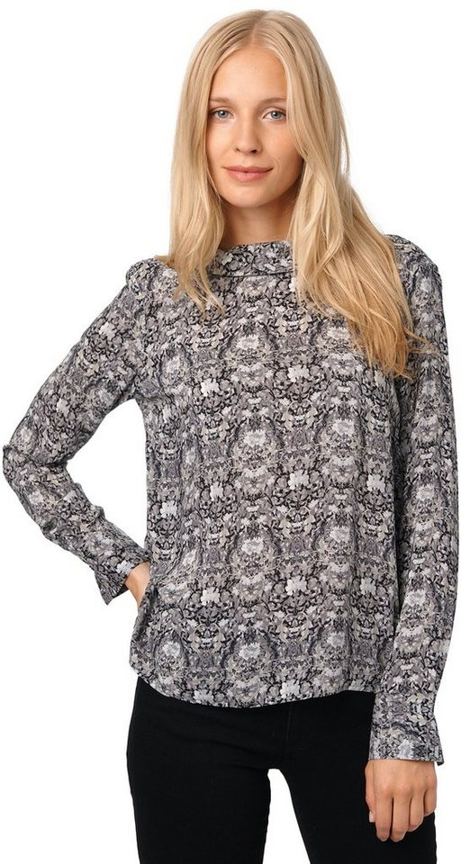TOM TAILOR Bluse »feminine Bluse mit Muster« in black
