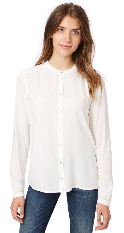 TOM TAILOR Bluse »elegante Bluse mit Raffung« in whisper white