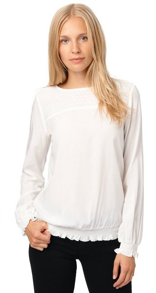TOM TAILOR Bluse »easy blouse with lace detail« in whisper white