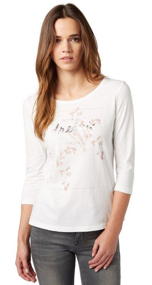 TOM TAILOR T-Shirt »Shirt mit Glanz-Print« in whisper white